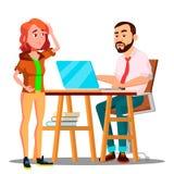 Studente confuso Takes An Exam all'insegnante arrabbiato Vector Illustrazione isolata illustrazione di stock