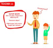 Studente d'istruzione dell'insegnante maschio con la casella di testo moderna Immagine Stock