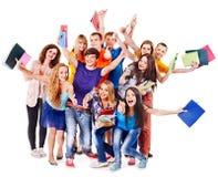 Studente del gruppo con il taccuino. Fotografia Stock