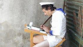 Studente del marinaio stock footage