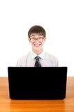Studente del nerd con il computer portatile Immagine Stock Libera da Diritti