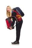 Studente della giovane donna con lo zaino isolato Fotografia Stock