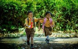 Studente della scuola elementare dell'Indonesia Fotografie Stock