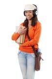 Studente di afro con i libri e la borsa di spalla Fotografia Stock Libera da Diritti