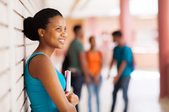 Studente di college abbastanza africano Fotografia Stock