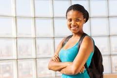 Studente di college africano sicuro Fotografie Stock