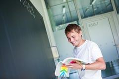 Studente di college bello che risolve un problema per la matematica Fotografie Stock Libere da Diritti