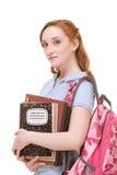 Studente di college caucasico con i copybooks dello zaino Fotografie Stock