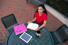 Studente di college che studia sulla città universitaria Immagini Stock Libere da Diritti