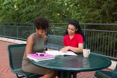 Studente di college che studia sulla città universitaria Fotografie Stock