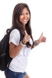 Studente di college con i pollici in su Fotografia Stock