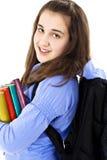 Studente di college con lo zaino ed i libri Fotografie Stock Libere da Diritti