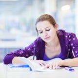 Studente di college femminile in una libreria Fotografie Stock Libere da Diritti