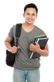 Studente di college isolato su priorità bassa bianca Fotografia Stock