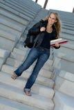 Studente di college sorridente felice Fotografia Stock