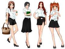 Studente di college tailandese in varia raccolta uniforme royalty illustrazione gratis