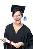 Studente di laurea in occhiali con il diploma Fotografie Stock