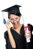 Studente di laurea in vetri con il certificato Immagine Stock Libera da Diritti