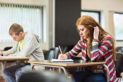 Studente di Semale con altri note di scrittura in aula Immagini Stock Libere da Diritti