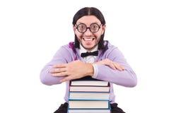 Studente divertente con i libri isolati Fotografie Stock