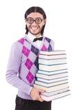 Studente divertente con i libri isolati Immagine Stock