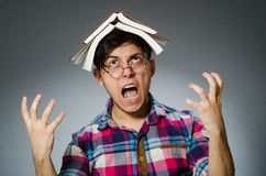 Studente divertente con molti libri Immagine Stock