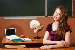 Studente eccellente in anatomia dell'aula Fotografia Stock Libera da Diritti