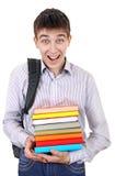 Studente felice con i libri Fotografia Stock