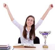 Studente felice del vincitore con successo Fotografia Stock