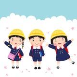 Studente giapponese nell'andare a scuola dell'uniforme scolastico Fotografia Stock Libera da Diritti