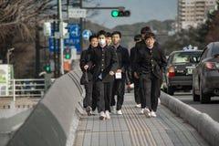 Studente giapponese nella via Immagini Stock