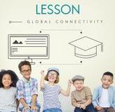 Studente globale Graphic Concept di connettività di lezione Fotografie Stock Libere da Diritti