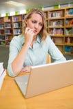 Studente grazioso che studia nella biblioteca Immagini Stock