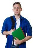 Studente maschio caucasico sorridente con capelli biondi Fotografia Stock Libera da Diritti