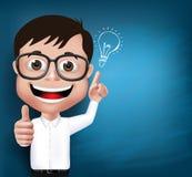 studente o professore realistico del ragazzo di scuola del nerd 3D illustrazione vettoriale