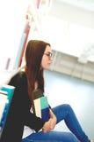 Studente premuroso della giovane donna Fotografie Stock Libere da Diritti