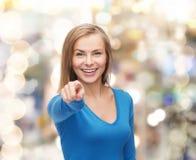 Studente sorridente che indica dito voi Fotografia Stock