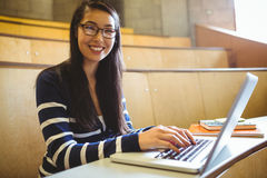 Studente sorridente che per mezzo del computer portatile Immagini Stock Libere da Diritti