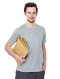 Studente sorridente felice con il suo taccuino Fotografia Stock