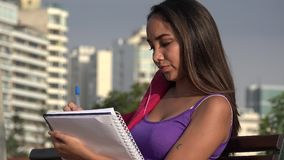Studente Teen Female Writing stock footage