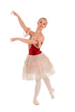 Studente teenager elegante di balletto in costume spagnolo rosso Immagini Stock