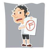Studente triste che mostra carta con il grado di F Fotografia Stock