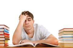 Studente triste e stanco fotografie stock
