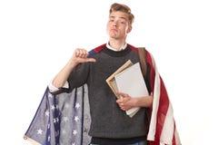 Studente universitario americano Immagine Stock