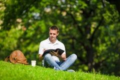 Studente universitario che studia per gli esami all'aperto dentro Fotografia Stock Libera da Diritti