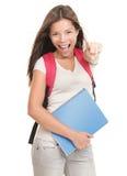 Studente universitario femminile allegro Fotografie Stock