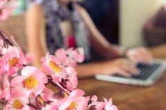 Studente universitario femminile attraente che per mezzo del computer portatile su una tavola di legno Immagine Stock Libera da Diritti