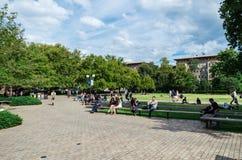 Studenten auf der Universität Melbourne-Südrasens Lizenzfreies Stockfoto