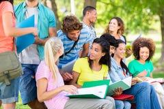 Studenten, die auf dem Campus studieren Stockfoto