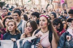Studenten die de Internationale Dag van Wome vieren ` s Stock Afbeelding